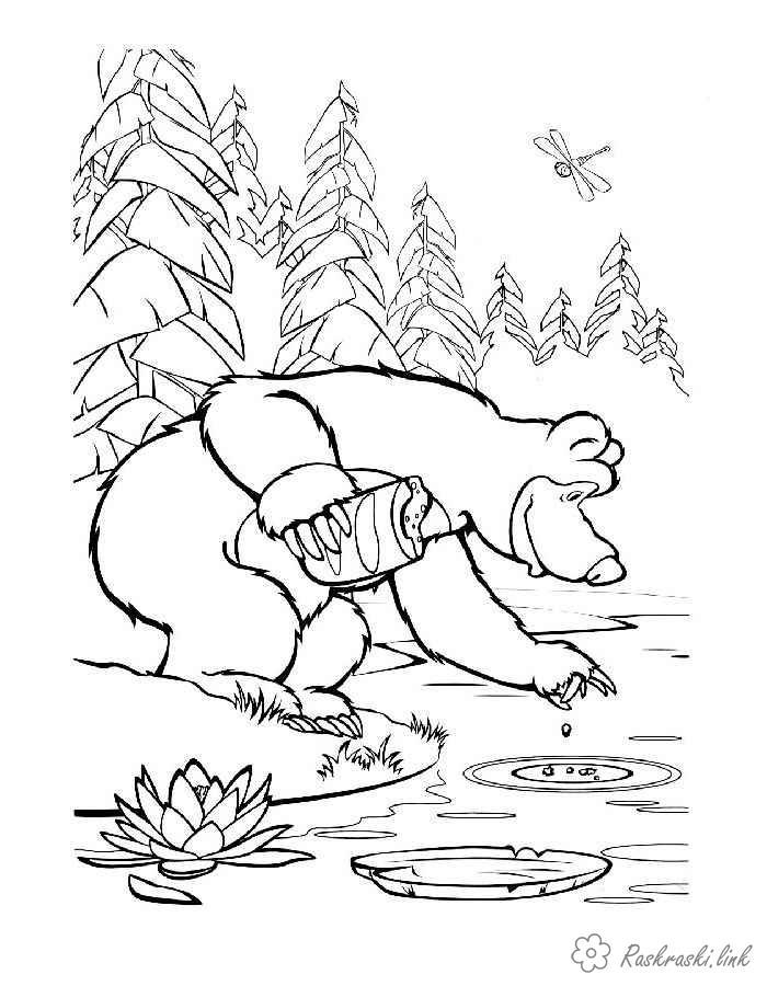 Раскраски озеро раскраска маша и медведь на рыбалке, озеро, природа, лес