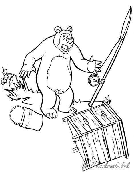 Раскраски ведро маша и медведь, раскраска, удочка, ведро, тумбочка