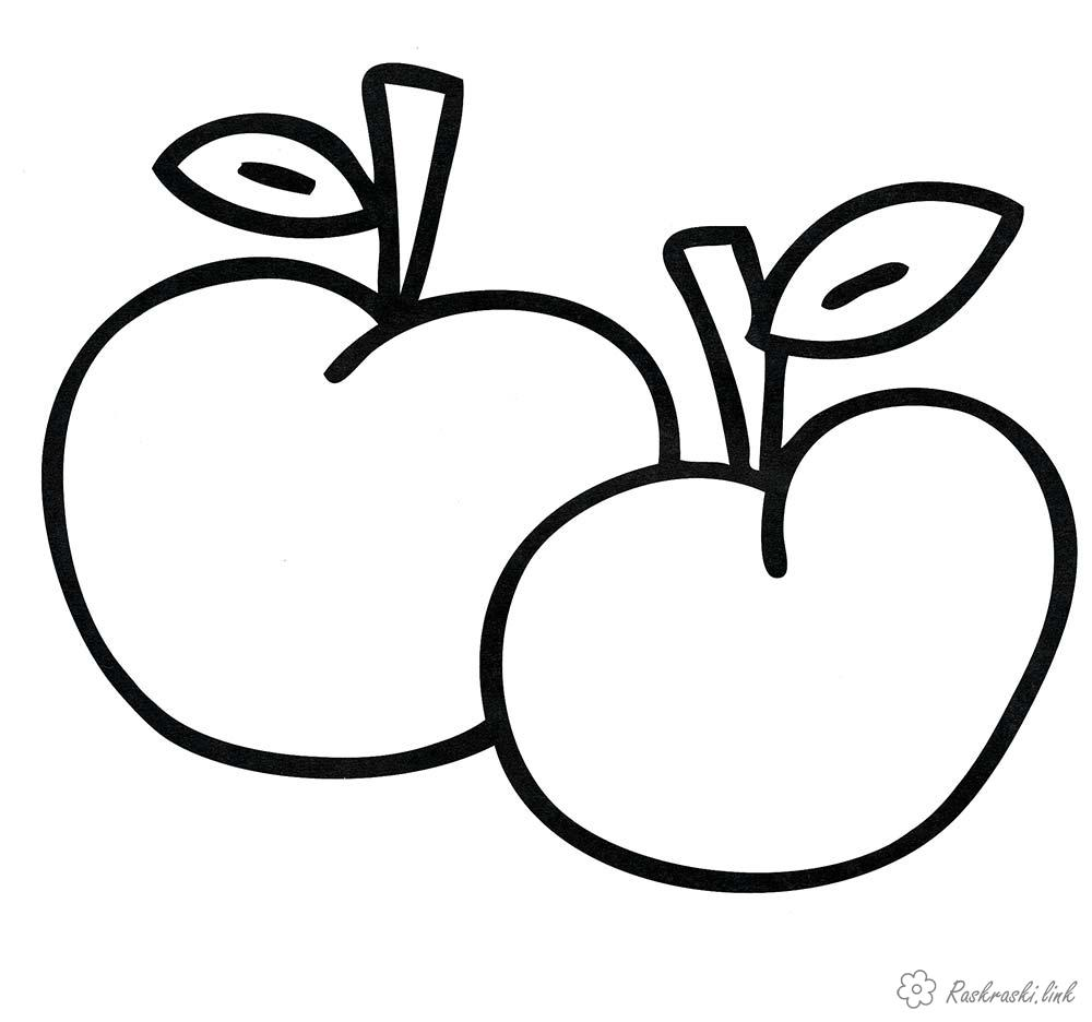 Coloring Apples  coloring pages, apples, two, fruit, ripe for children
