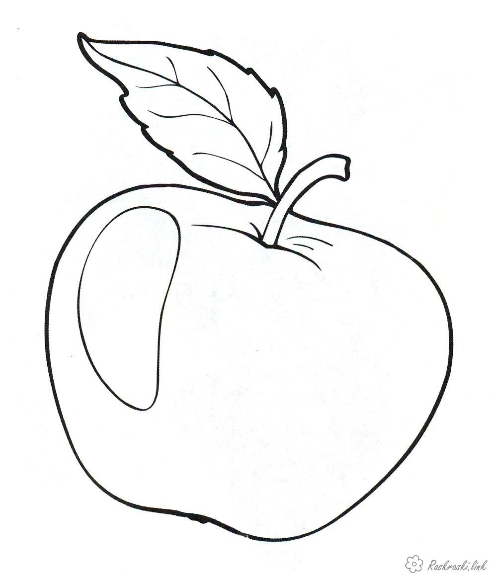 Coloring Apples  coloring pages with leaf, apple, ripe,