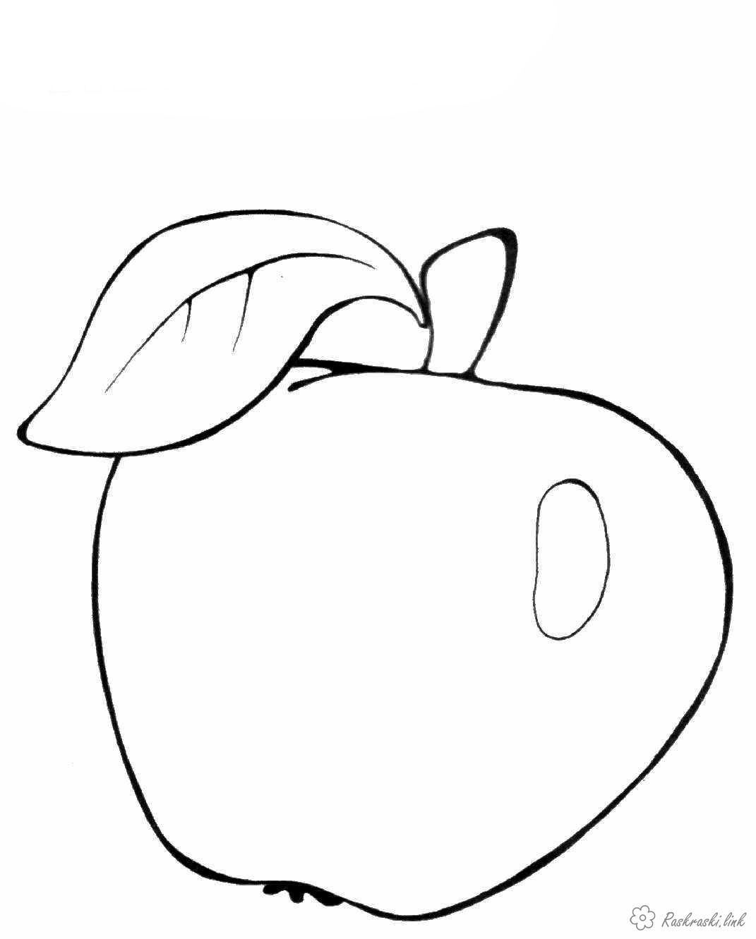 Розмальовки Яблука  Зелене, ароматне, яблуко, розфарбування, дитяча