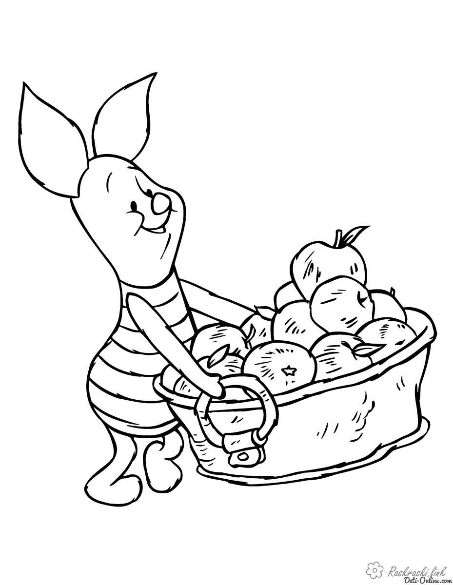 Раскраски пятачок Пятачок,яблоки, большая корзинка, детские раскраски, для маленьких детей