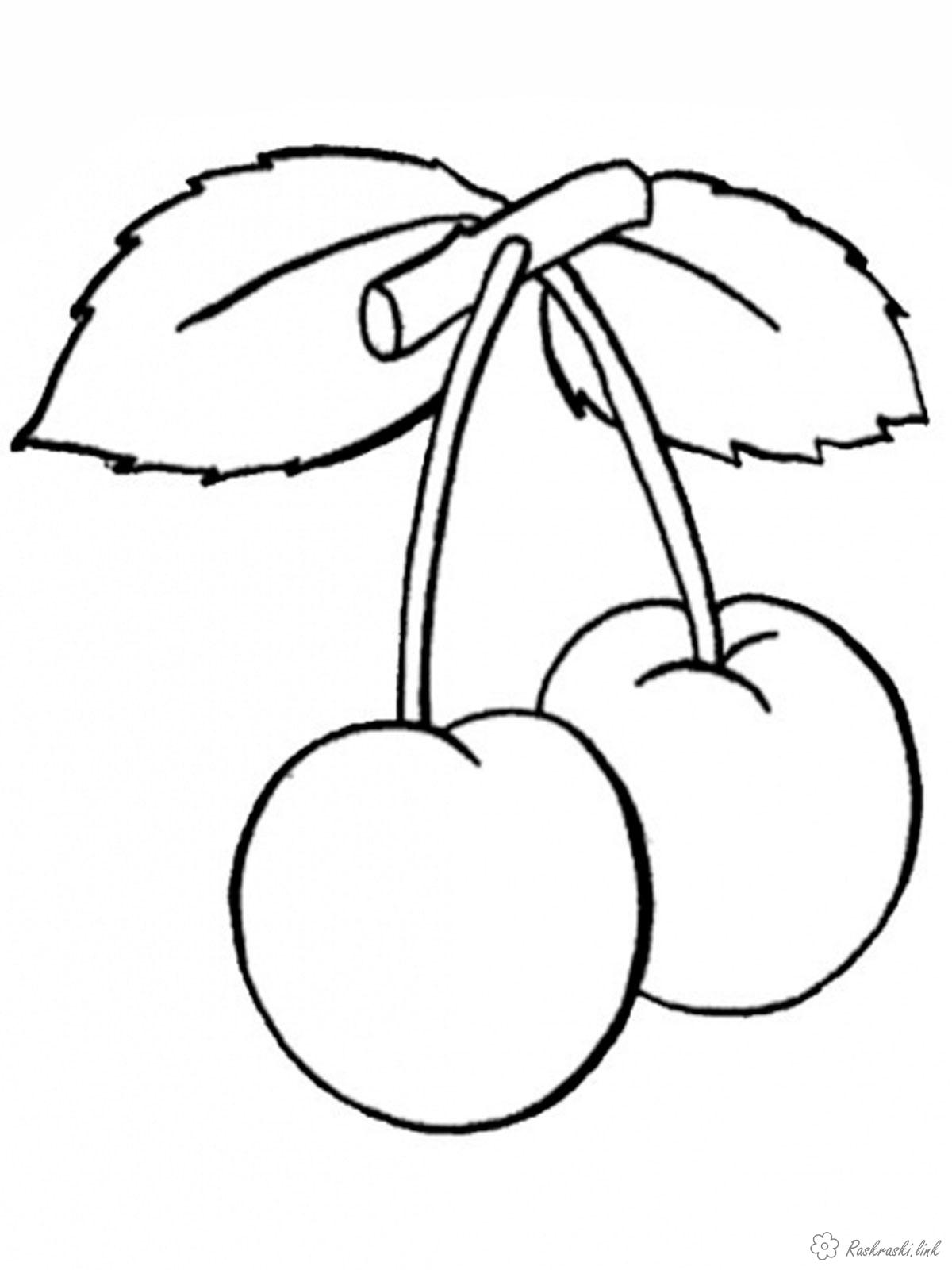 Coloring для Two cherries, delicious, ripe, juicy, coloring pages