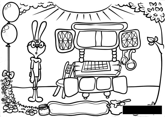 Coloring winnie coloring pages book for children, rabbit, honey
