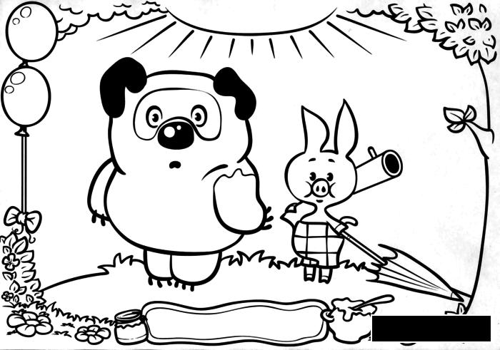 Coloring Winnie the Pooh  Winnie the Pooh, pyatochok, gun umbrella