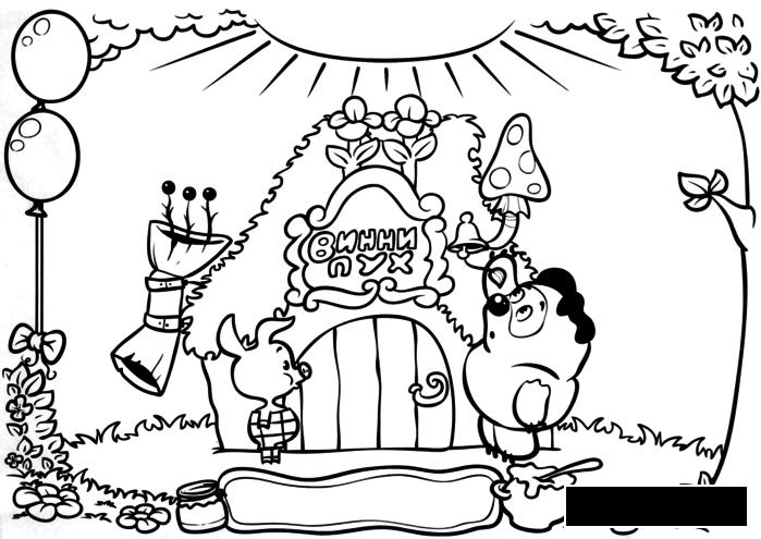 Coloring winnie coloring pages Winnie the Pooh, Piglet, house