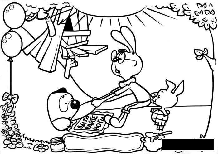 Раскраски пятачок кролик, винни пух, нора, пятачок
