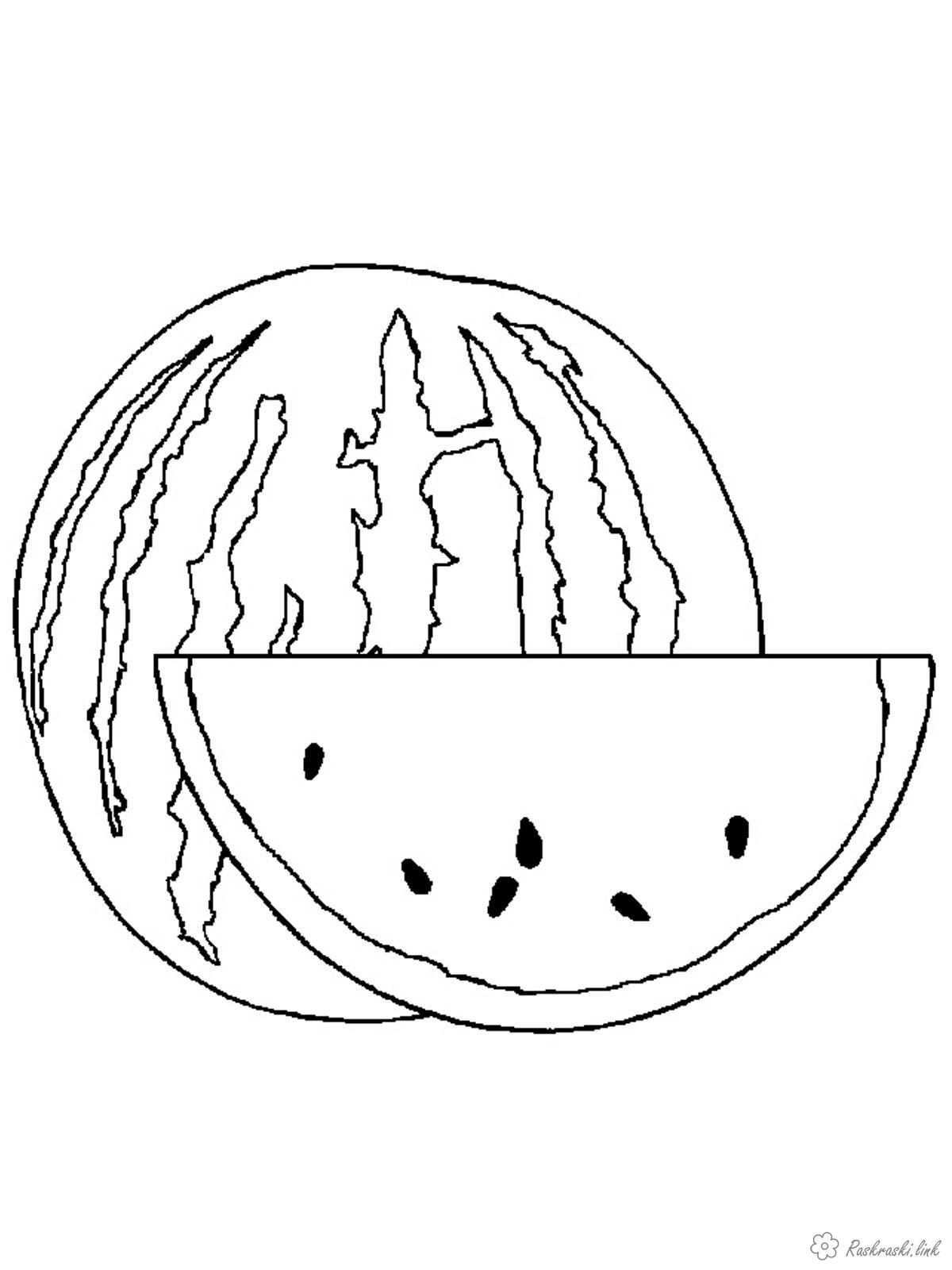 Розмальовки Ягоди Корисний, соковитий, кавун, розфарбування, фрукт, ягода