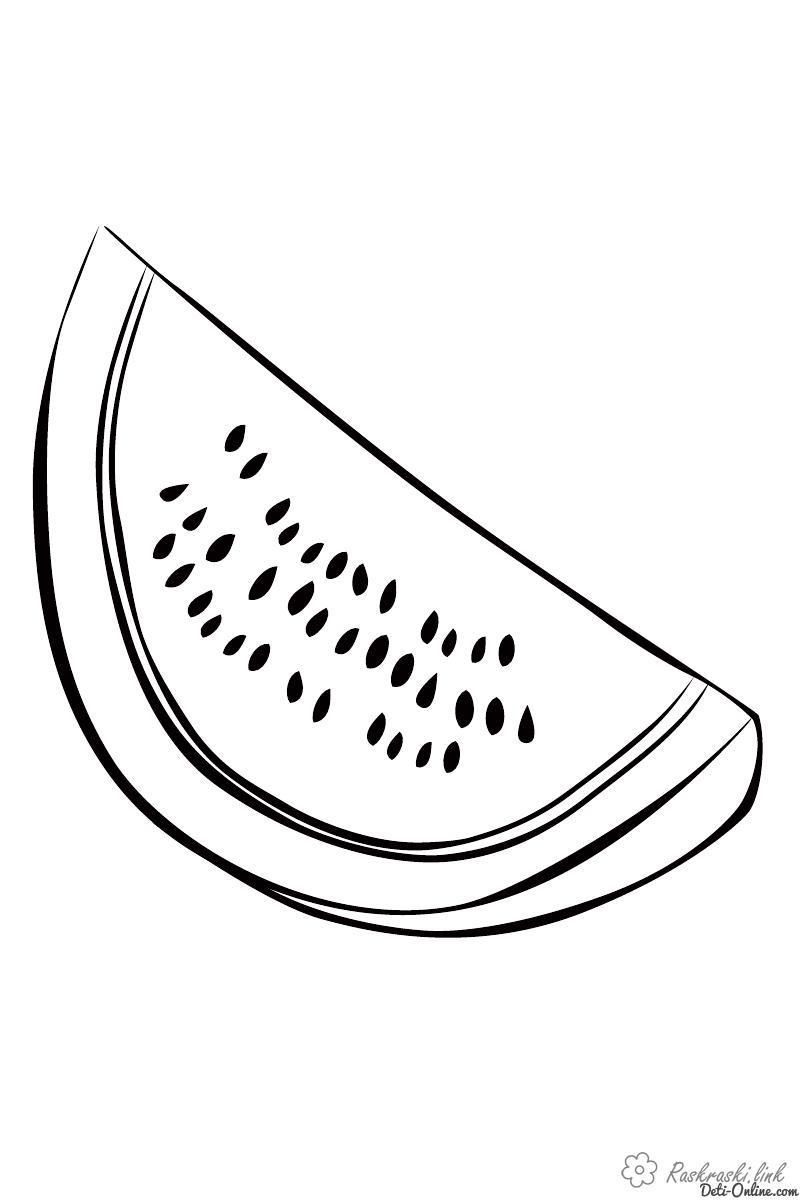 Розмальовки Ягоди Кавун, часточки, кісточки, розфарбування, фрукт, ягода