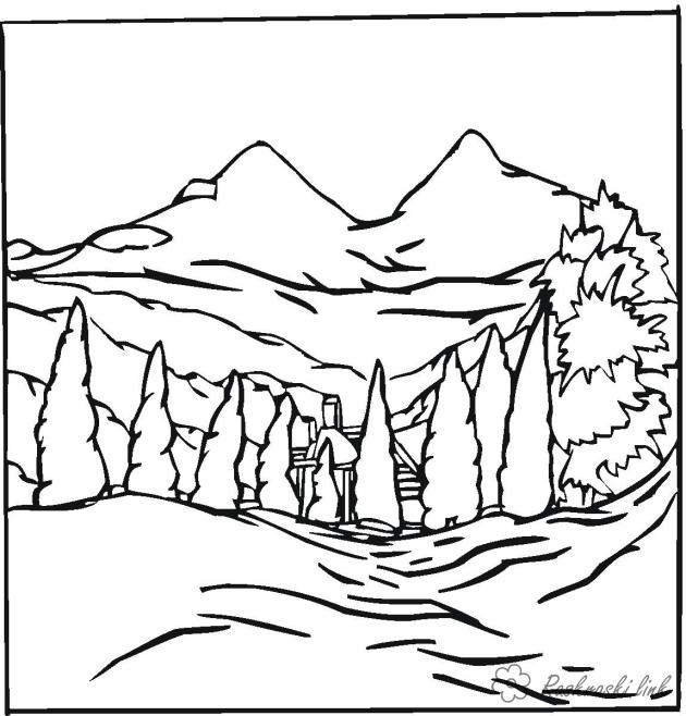 Coloring Forest and landscape coloring pages landscape of mountains in the background, fir, mountains, at the foot of a house