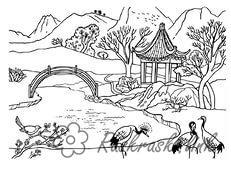 Coloring Forest and landscape coloring pages landscape, river, mountains, cranes, summerhouse