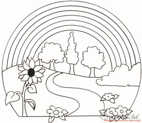 Coloring Forest and landscape coloring pages landscape, road, rainbow, flowers, sunflowers