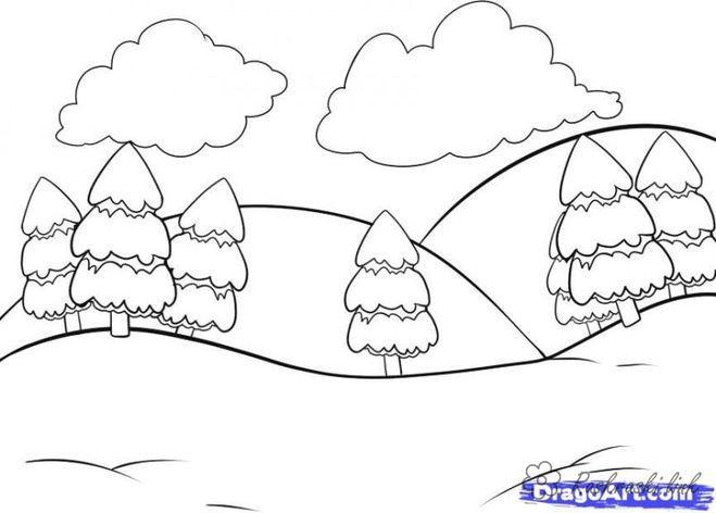Розмальовки Ліс і пейзажі розфарбування краєвид, ялинки, гори, пагорби, хмари