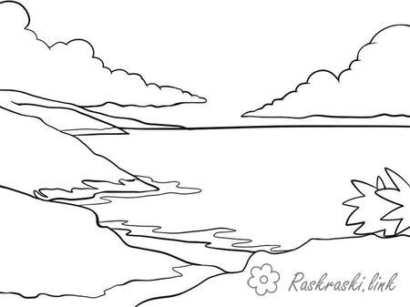 Розмальовки гори розфарбування краєвид, гори, озеро, навислі хмари