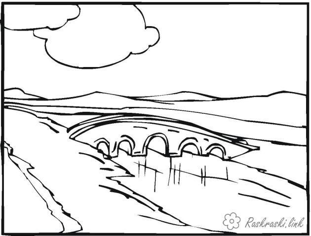 Coloring bridge coloring pages landscape, a bridge across the river, clouds