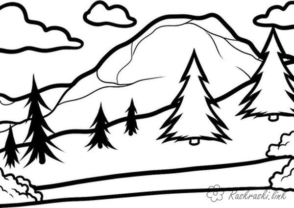 Розмальовки тлі розфарбування краєвид ялинки на тлі гір, хмари