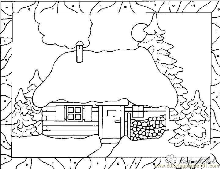 Розмальовки сніг розфарбування краєвид будиночок в зимовому лісі, сніг