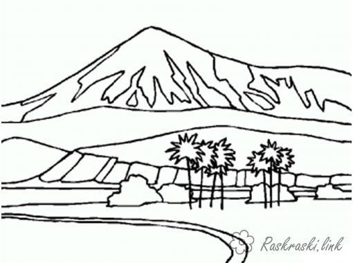 Розмальовки тлі розфарбування краєвид, пальми, гори покриті снігом, озеро
