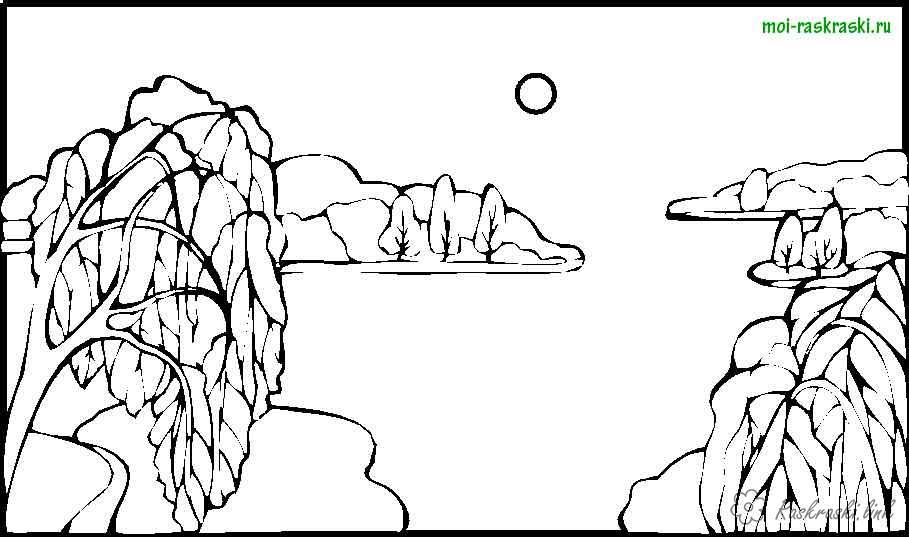 Розмальовки тлі розфарбування краєвид верби, озеро, сонце, дерева