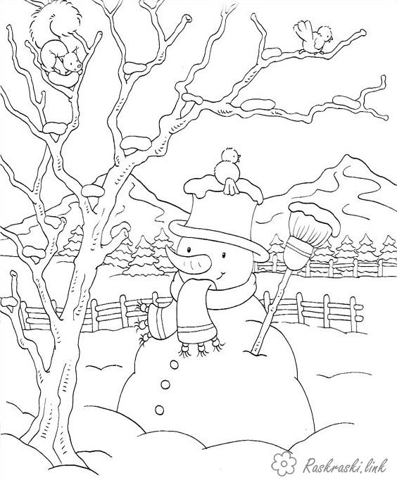 Розмальовки пейзаж розфарбування краєвид сніговик, зима, сніг, удалечині ліс