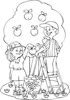 Розмальовки дівчинка розфарбування літо яблуня хлопчик дівчинка яблука