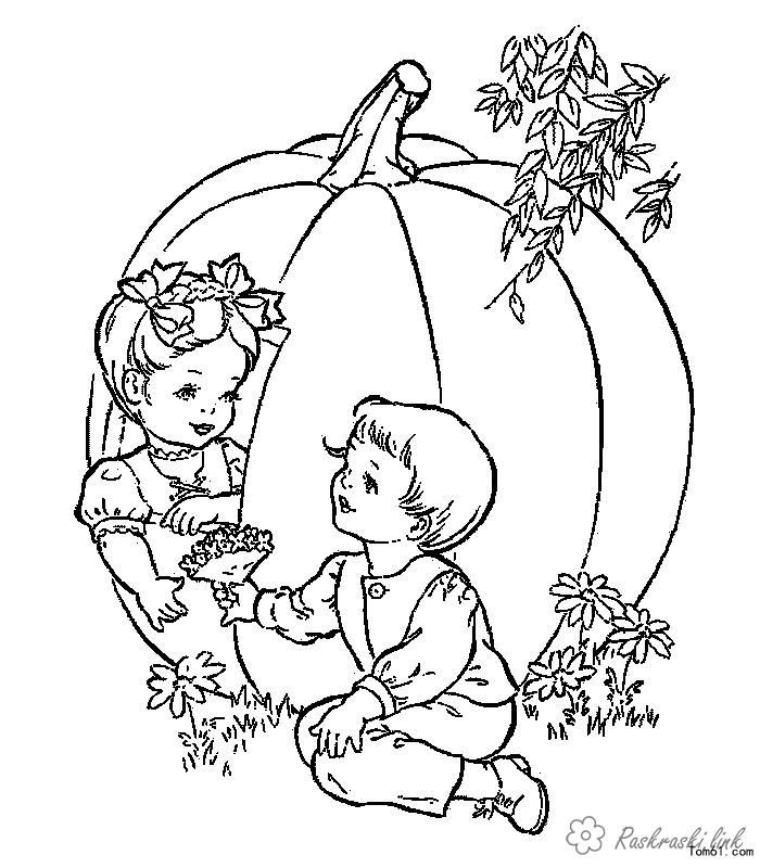 Розмальовки дівчинка розфарбування літо гарбуз хлопчик дівчинка квіти