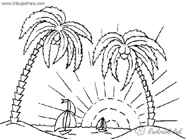 Раскраски пальмы раскраска лето две пальмы солнце кораблики