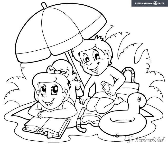 Розмальовки дівчинка розфарбування літо канікули відпочинок хлопчик дівчинка