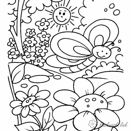 Раскраски природа раскраска лето бабочка солнце деревья цветочки