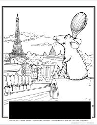 Coloring Paris coloring pages the city of Paris, Remy, the Eiffel Tower, the house