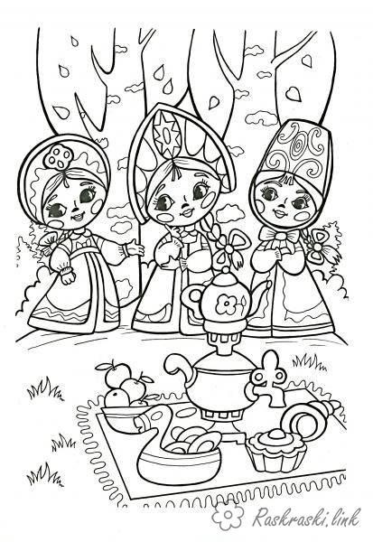 Розмальовки три розфарбування казка про царя Салтана три дівиці під вікном пряли
