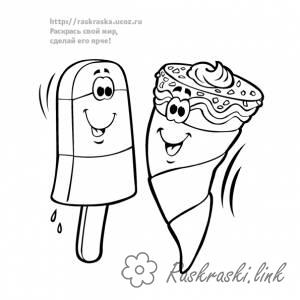 Coloring Ice-cream coloring pages for children, two cheerful friend, wafer cone, popsicle