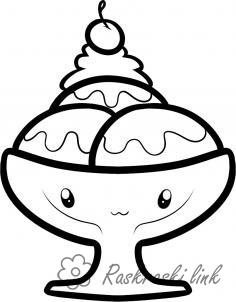 Coloring Ice-cream very cheerful, coloring pages, cup, ice cream, smiling