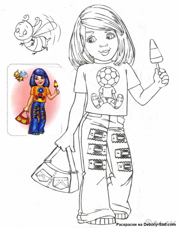 Розмальовки дівчинка Дівчинка, їсть, морозиво, фруктовий лід, розмальовки