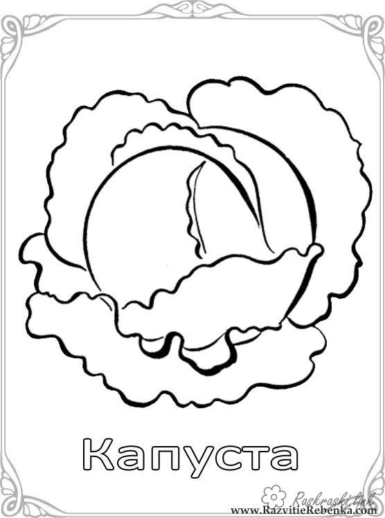 Розмальовки Овочі  Свіжа, овочі, капуста, розмальовки, дитячі