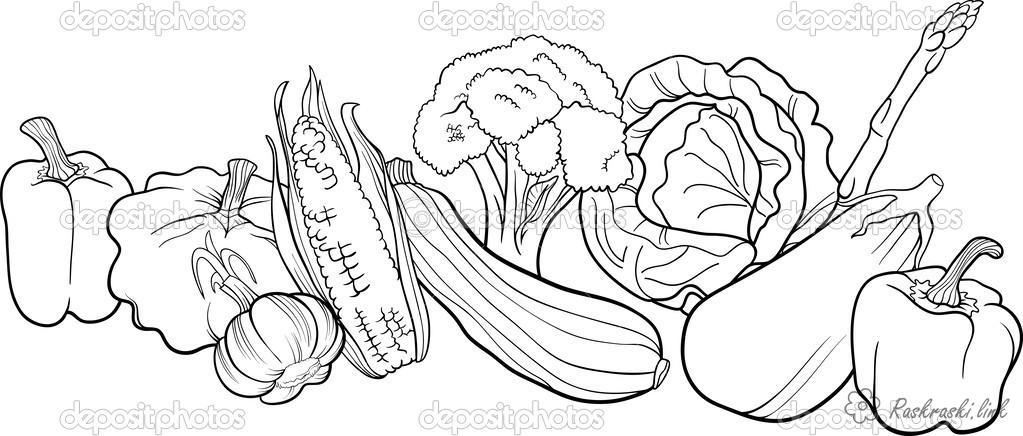 Розмальовки багато багато овочів, розмальовки дитячі, на світі