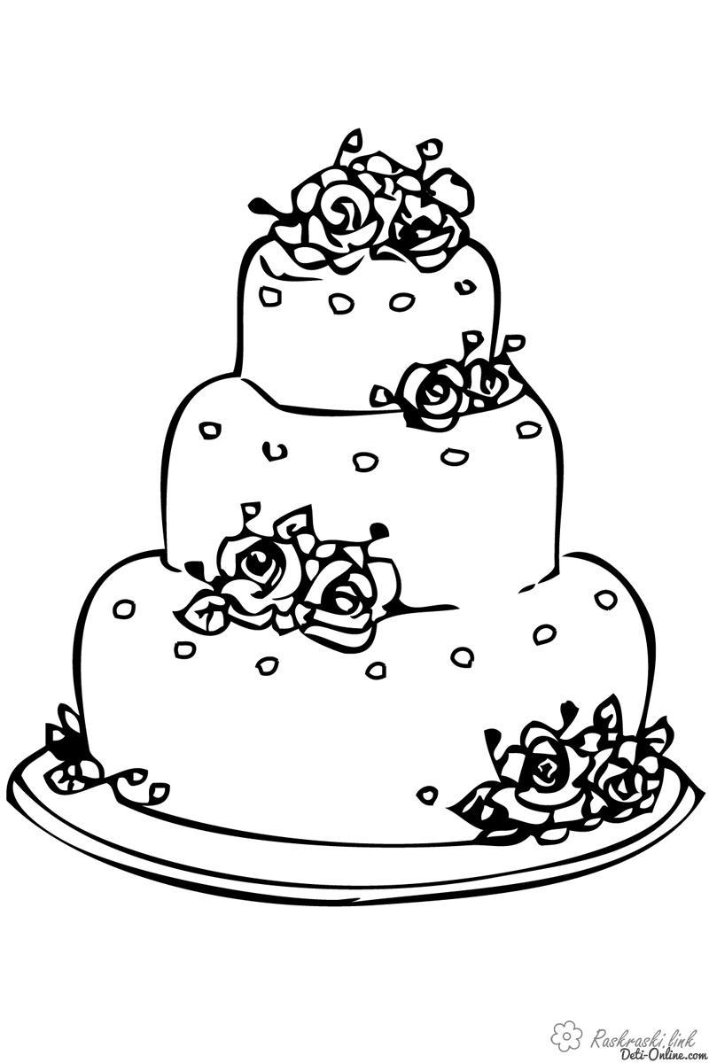Розмальовки Торти та тістечка  Гарний, рожевий, весільний, торт, з трояндочками, розфарбування