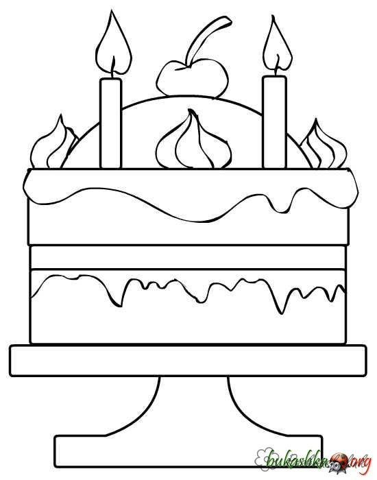 Coloring Cakes and pastries  a large, two-tiered cake, apple, coloring pages