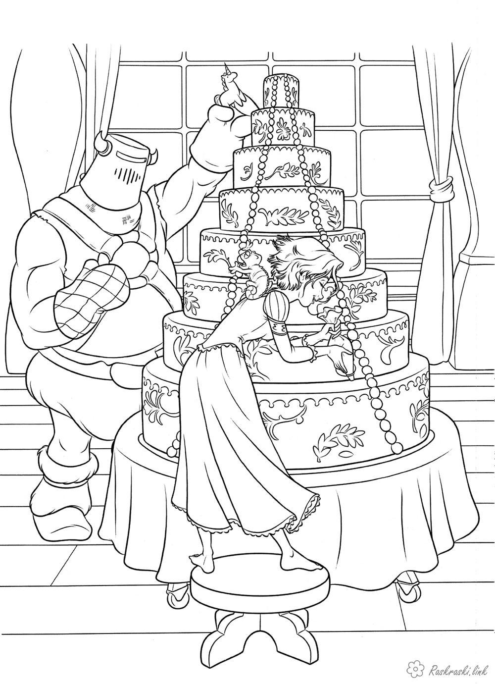 Розмальовки рапунцель Рапунцель, весільний торт, прикрашає, розфарбування