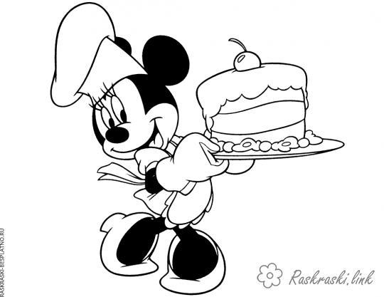 Розмальовки Торти та тістечка  Мінні Маус, Міккі Маус, торт, розфарбування, з вишенькою