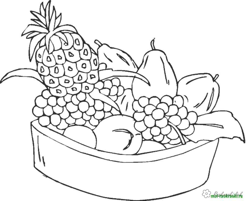 Розмальовки Фрукти Чашка, повна фруктів, солодкі, смачні, розфарбування