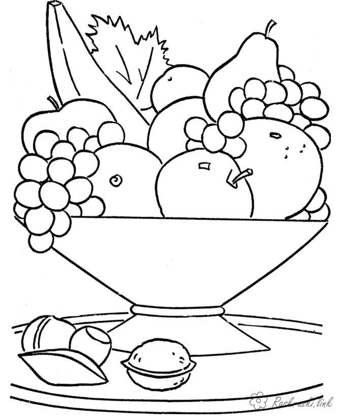 Розмальовки Фрукти Велика чашка, повна фруктів, банан, розфарбування