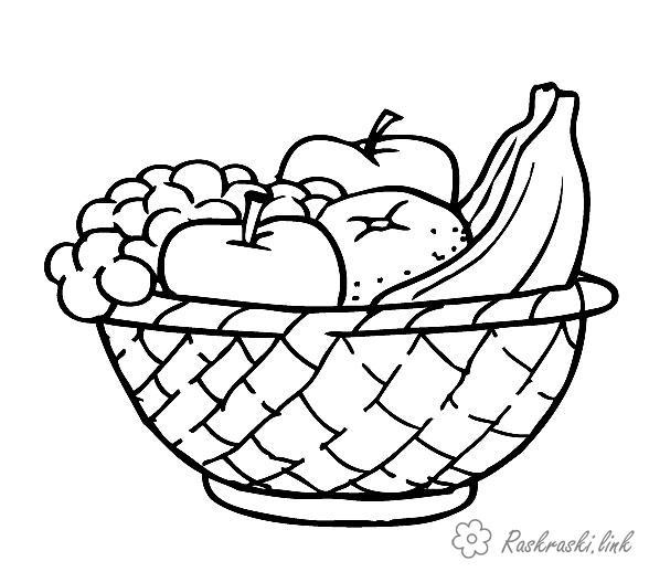 Розмальовки стиглі Кошик, розфарбування, стиглі, соковиті, фрукти