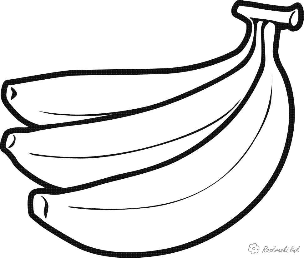 Розмальовки стиглі гроно бананів, стиглі, жовті, розфарбування