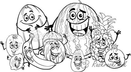 Розмальовки веселі Веселі, фрукти, радіють, посміхаються, сміятися, розфарбування