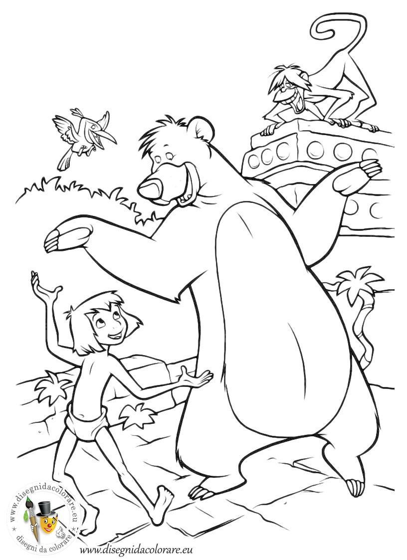 Раскраски раскраски для детей по сказкам Маугли танцует с медведем балу и с верху им кричит обезьяна