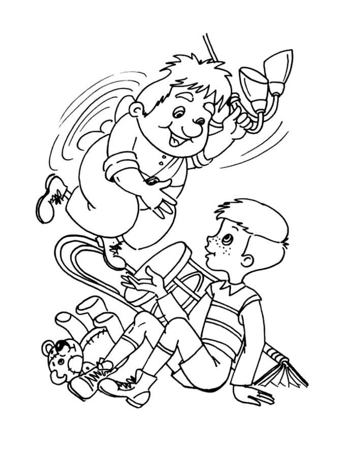 Розмальовки карлсон Карлсон грає з хлопчиком вхопившись за люстру на стелі