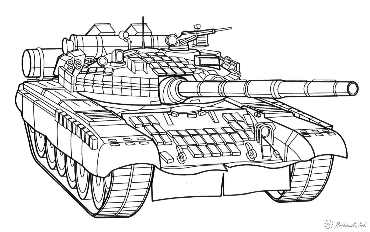 Coloring Boys coloring pages, tanks, machine guns, pistols, grenades, mines, military equipment,