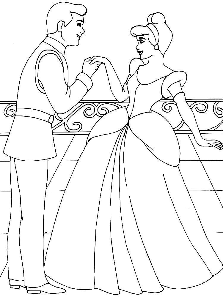 Раскраски раскраски для детей по сказкам Принц приглашает золушку на танец с ним целую ее ручку