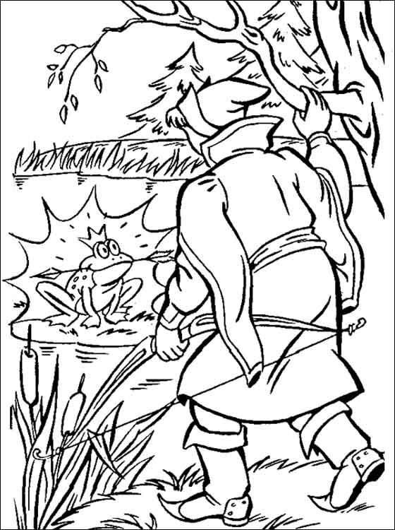 Раскраски болоте Иван дурак пошел искать свою стрелу и нашел ее в болоте во рту у лягушки